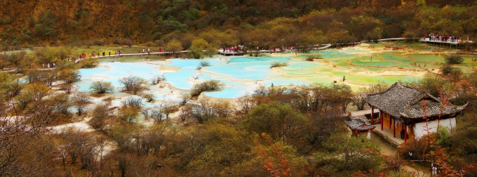 Hi,China Late Autumn in Huanglong National Park from Chengdu banner