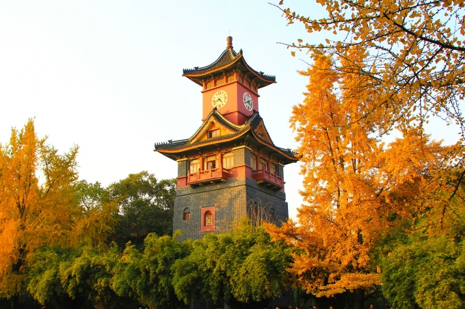 Beautiful Bell Tower in Sichuan University - CHENGDU