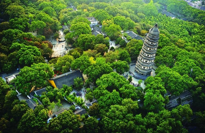 The Tiger Hill tower in Huqiu, Suzhou, Jiangsu Province