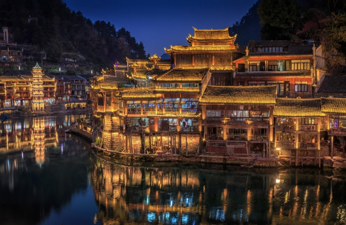 The night and the sunrise of Fenghuang