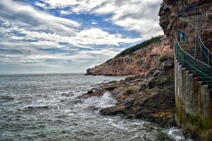 Weihai, the seaside and mountains around the beach